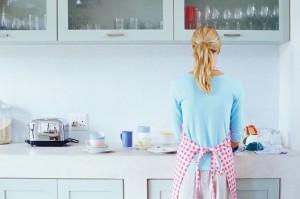 Woman washing up